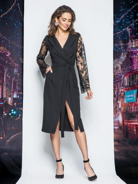 платье халат с рукавами