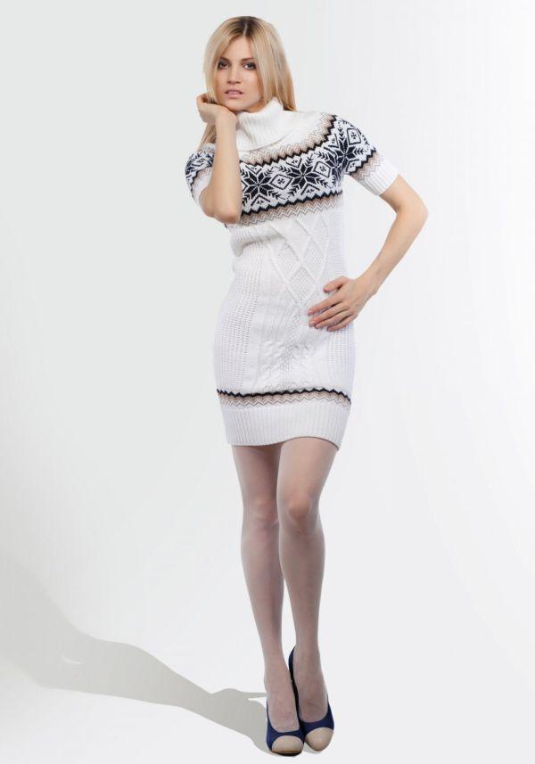 свитер платье с коротким рукавом