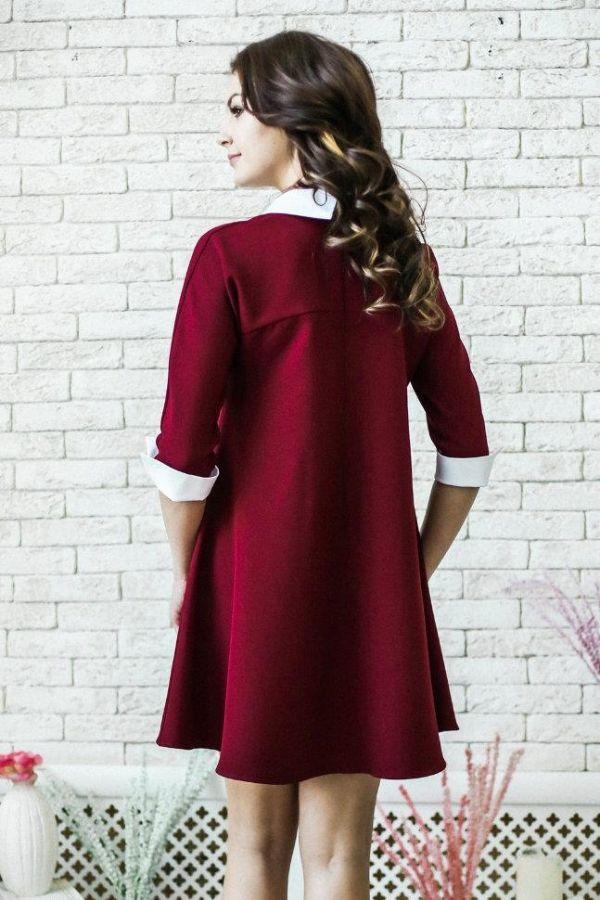 бордовое школьное платье