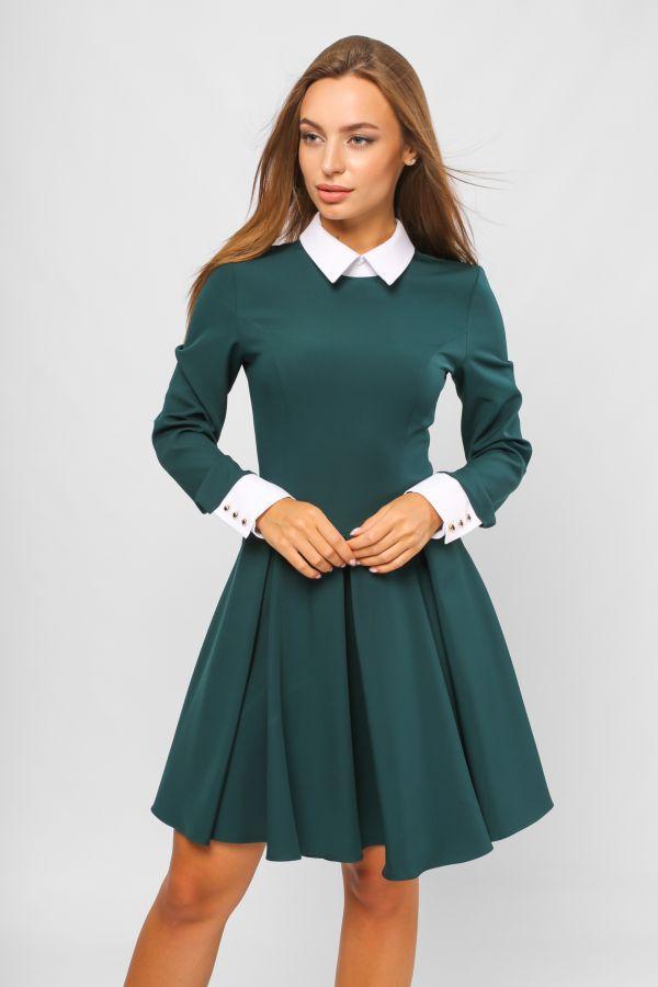 зеленое школьное платье