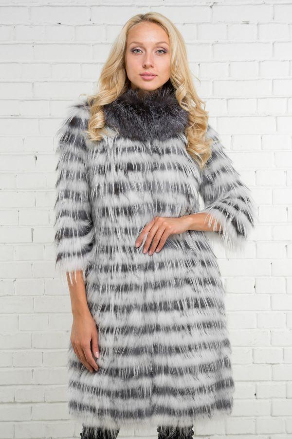 шуба из вязаного меха