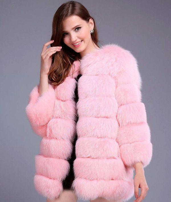 искусственная розовая шуба