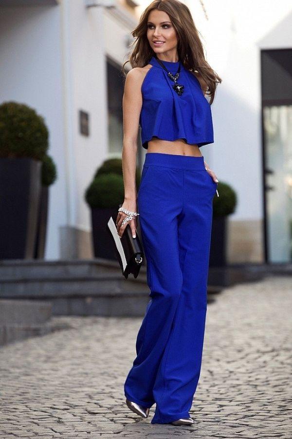 Синий летний брючный костюм