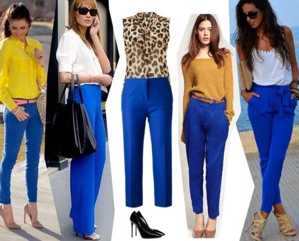 модели синих брюк