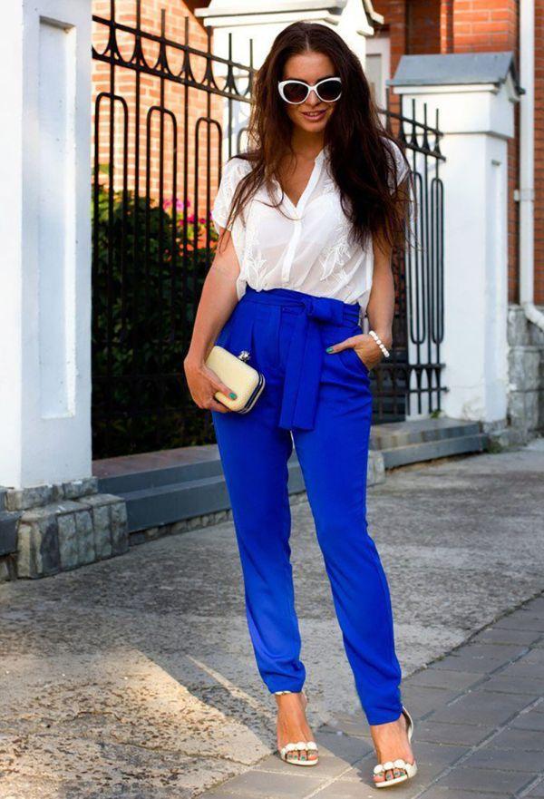летние синие штаны