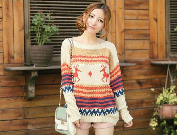 свитер с оленями китайский