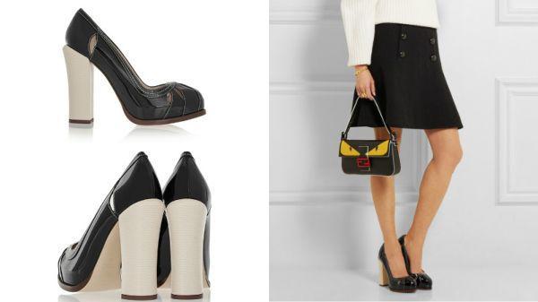 модные туфли на толстом каблуке с юбкой