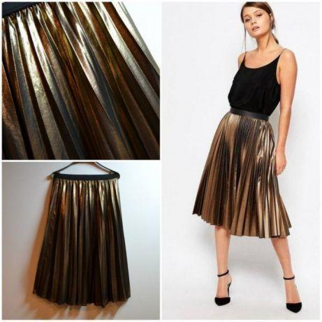 золотая юбка миди