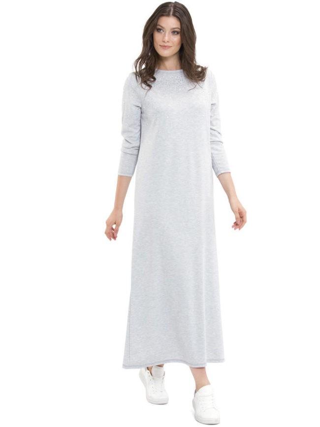 серое прямое платье