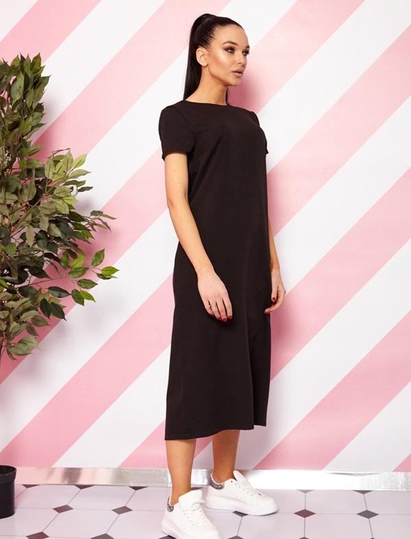 черное прямое платье