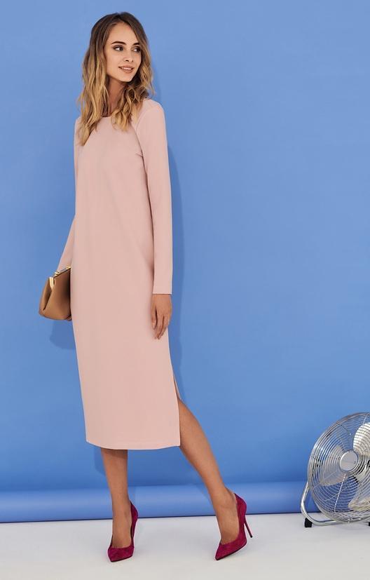 розовое прямое платье
