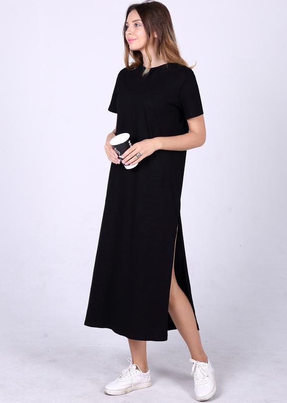 черное прямое платье длина миди