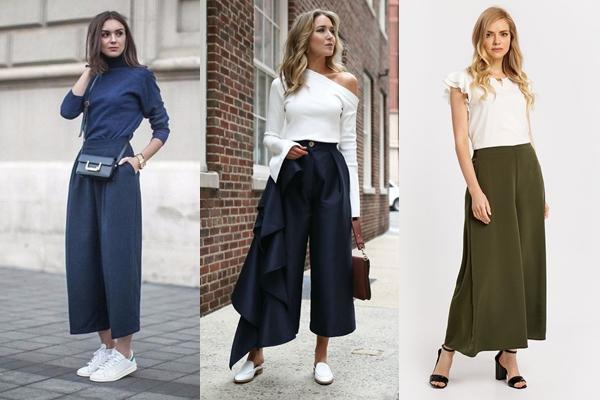 образы 2019 года с юбкой-брюками