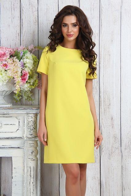 желтое прямое платье
