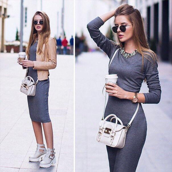 лук с прямым платьем
