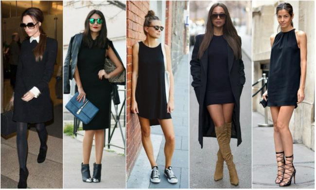луки с прямым черным платьем
