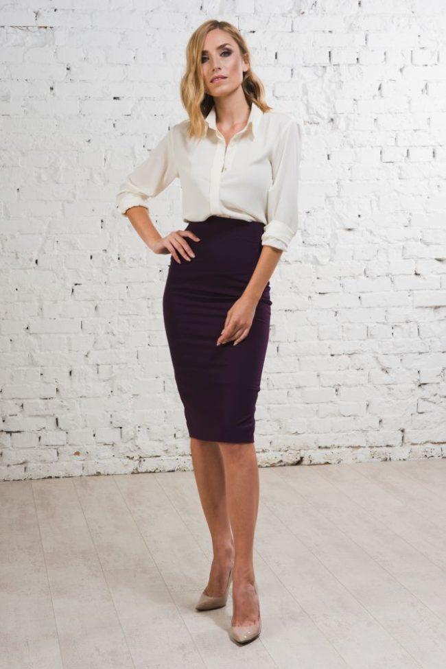 Модные фасоны и модели юбки карандаш с завышенной талией, стильные образы