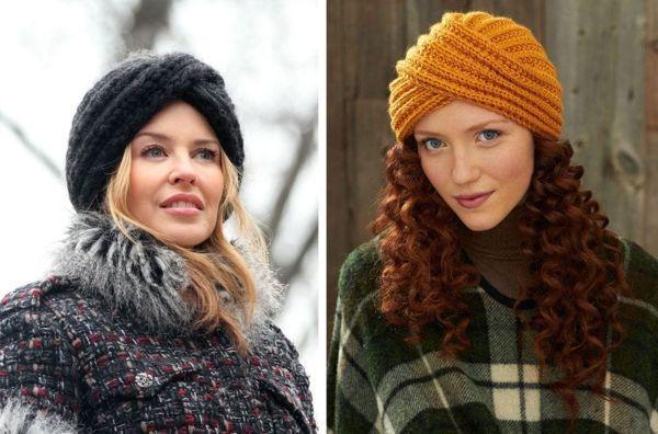 Фото модных вязаных шапок для женщин 50 лет, стильные виды и фасоны