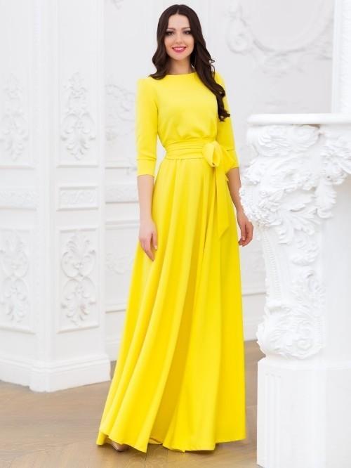 платье трапеция желтого цвета