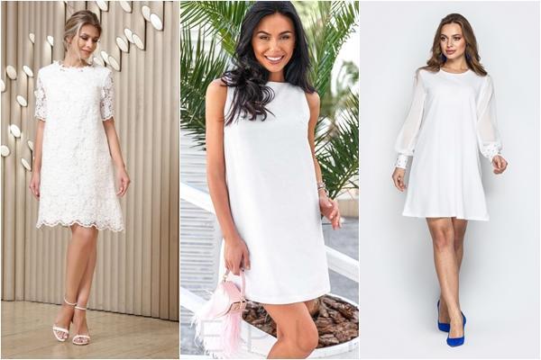 белое платье трапеция