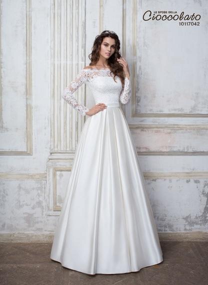 белое свадебное платье с длинным рукавом