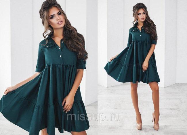 зеленое платье трапеция