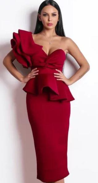 бордовое платье платье с баской