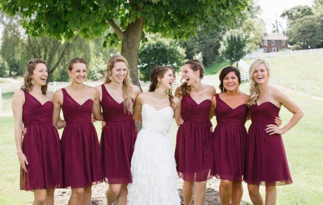 бордовые платье подружек невесты