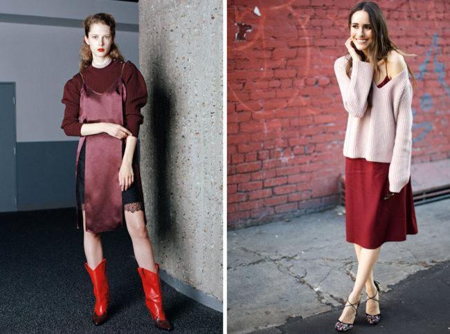С чем носить платье комбинацию и особенности бельевого стиля, модные образы и тренды