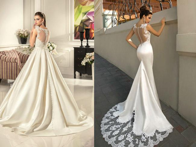 Модные фасоны и модели свадебных платьев из атласа, недостатки материала