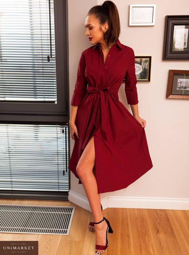 платье миди Бордовый
