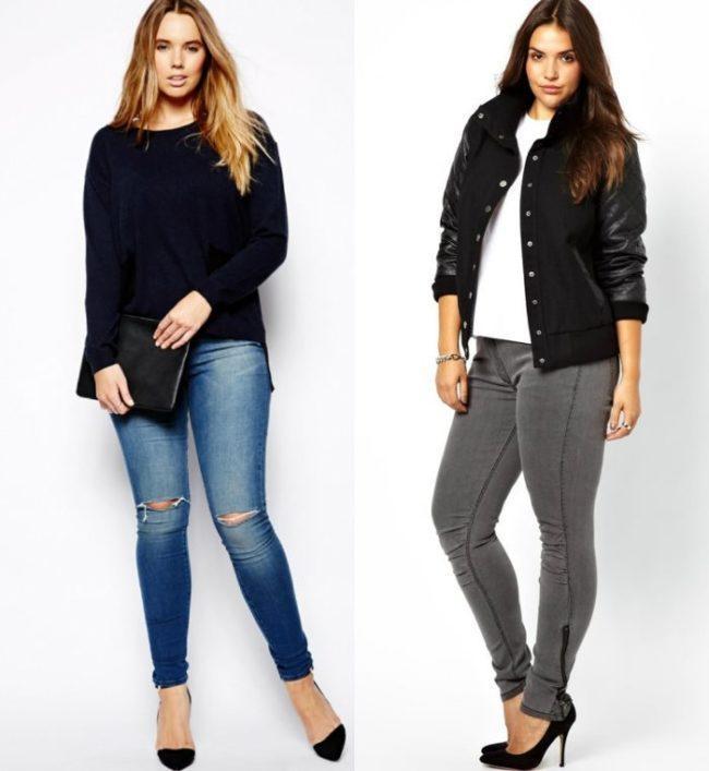 джинсы скинни для полных