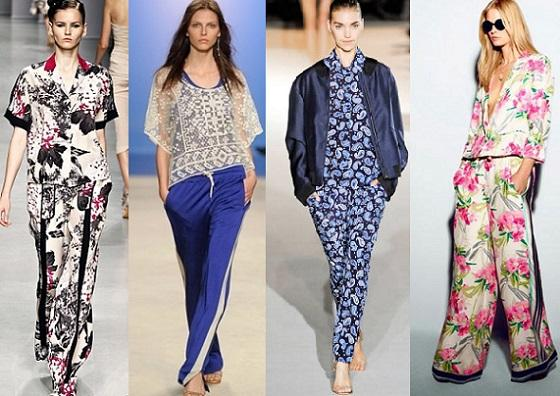 женские брюки В пижамном стиле