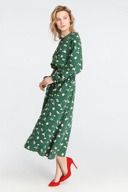 платье в цветочек Зеленый